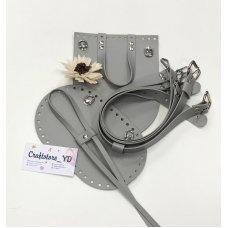 Набор для рюкзака из Экокожи Светло-серый