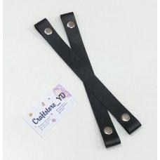 Ручки на кнопках из Экокожи 27 см цвет Черный (1 пара)