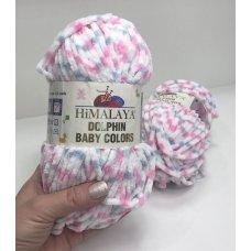 Плюшевая пряжа Himalaya Dolphin Baby Colors цвет Белый-Розовый 80418