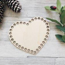 Деревянное донышко для корзинки, сердце 15*13см