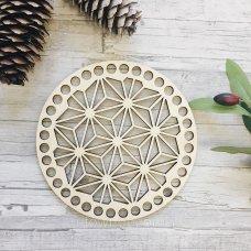Крышка из дерева для вязанной корзинки Одуванчик 15см