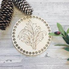 Крышка из дерева для вязанной корзинки Цветок гравировка 15см