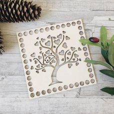 Деревянное донышко для корзин ажурный квадрат  Деревце 15см