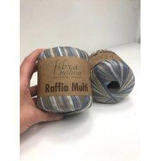 Рафия для вязания Fibra Natura Мульти серо-голубой 117-09