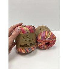 Рафия для вязания Fibra Natura Мульти красно-розовый 117-01