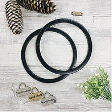 Деревянные ручки для сумок, кольца узкие, 146мм черные